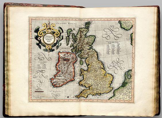 British Isles from Atlas Cosmographicae 1596 Gerard Mercator – Map Uk Ireland Scotland