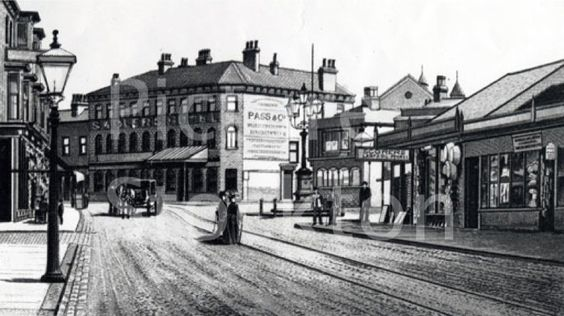 The Five lamps and an ordinary street lamp, included in a view of Mandale Road, Thornaby, looking towards the Sadlers Hotel. The Five Lamps were presented to Thornaby by three Justices of the Peace…