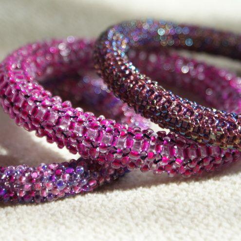seed beads woven around plastic tubing