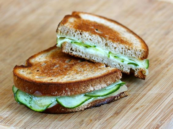 made these this weekend. The havarti dill made the cucumbers taste like pickles it was awesome. We didn't do the vinegar/sugar step... just havarti and cucumbers grilled... Grilled Cheese: Havarti Dill and Cucumber on Rye