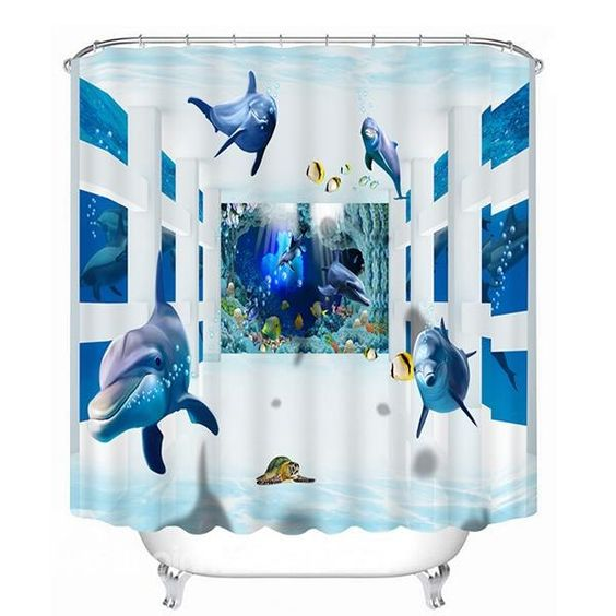 Dolphins print 3d bathroom shower curtain for your for 3d bathroom accessories