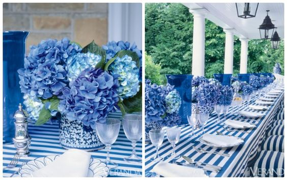 Blue and White Stripes will draw your eyes in to this beautiful table setting.
