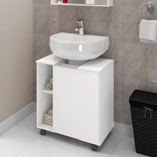 Foto 1 Gabinete Armario Banheiro Para Pia De Coluna Pequin