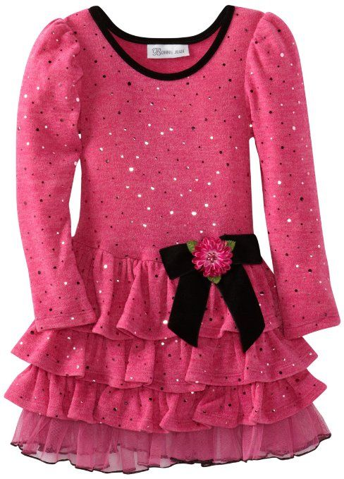 Amazon.com: Bonnie Jean Girls 2-6X Fuzzy Spangle Knit Tiered Dress: Clothing