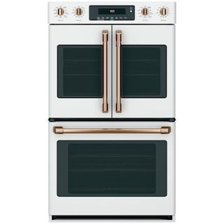"GE Cafe 30"" Built-In Double Convection Wall Oven with Top French Door in Matte White and Brushed Bronze Handles"