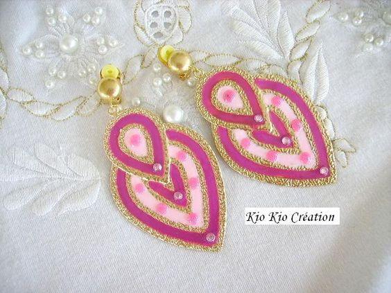 Grandes boucles d'oreilles clips,duo rose,forme larme,émail,strass, métal doré. : Boucles d'oreille par kio-kio-creation
