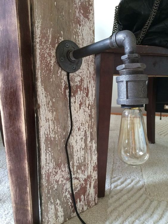 Industrial Vintage Pipe Sconce Lamp Light On Barn Wood Fits Edison Lightbulb Reclaimed Rustic