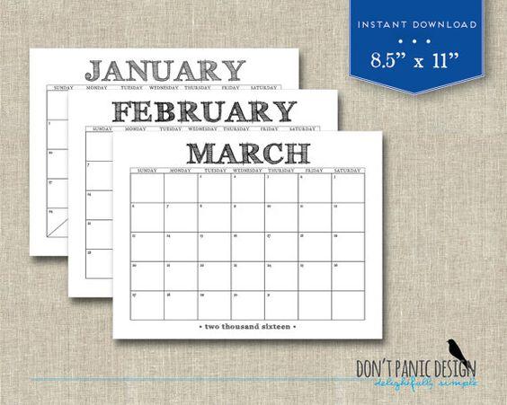 Typography Calendar Download : Printable wall calendar fun casual rustic black