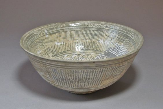 White Slip Inlaid Rope-Curtain Design Buncheong Bowl-16th Cent. Joseon dynasty: