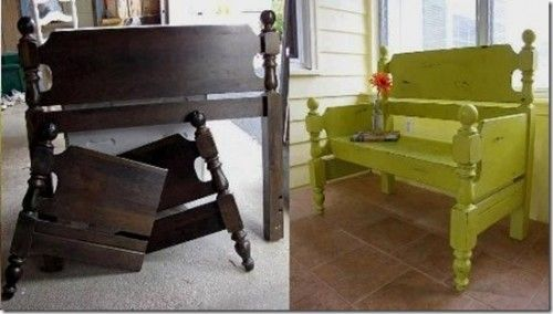 Doing this with my grandma's old bed frame for the front porch. Old Wooden Bed Frame? DIY Creative Front Porch Seat!