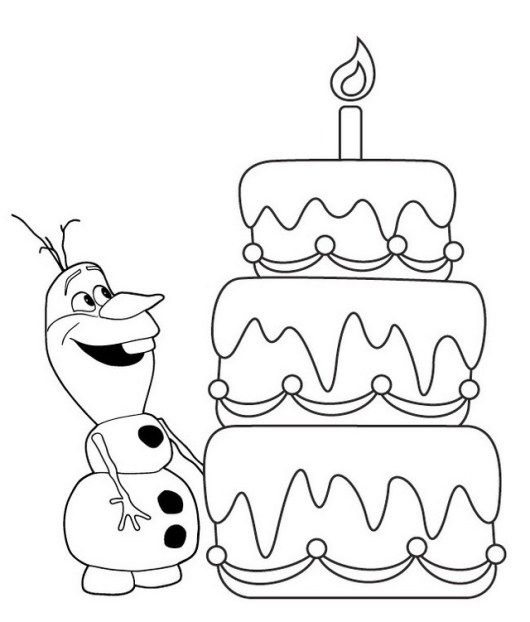 Olaf And Birthday Cake Coloring Sheet Frozen Coloring Pages Birthday Coloring Pages Frozen Coloring