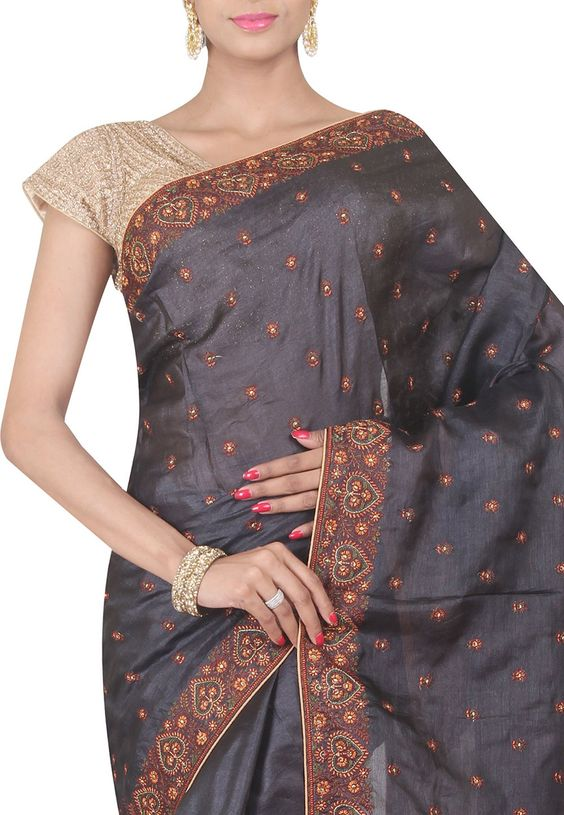 Buy Pure Silk Embroidered Saree in Charcoal online, work: Embroidered, color…