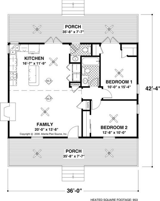 2 Bedroom 1 Bath Cabin Lodge House Plan Alp 026g Small House Floor Plans Tiny House Plans Cottage Style House Plans