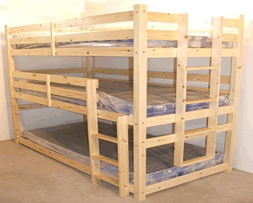 3 tier heavy duty wooden triple bunk beds with mattresses included at. Black Bedroom Furniture Sets. Home Design Ideas