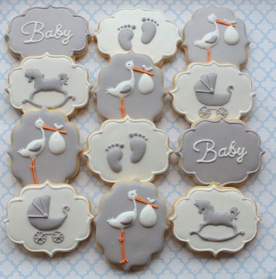 Stork baby shower cookies by Miss Biscuit