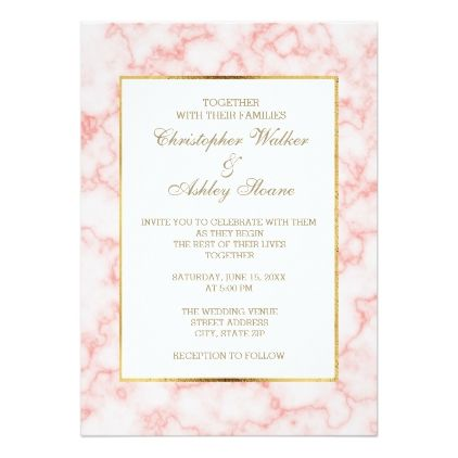 Pink And Gray Marble Gold Trim Wedding Invitation Zazzle Com Marble Wedding Marble Invitation Wedding Bridal Shower Cards