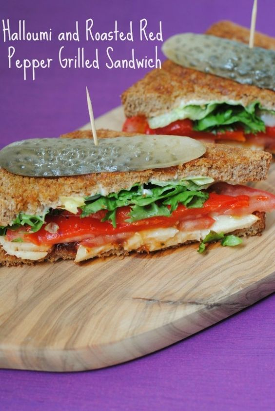 Grilled Eggplant And Roasted Red Pepper Sandwich With Halloumi Recipe ...
