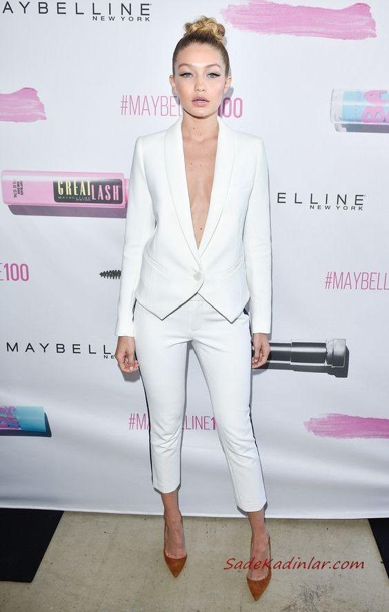 2019 Bayan Takim Elbise Kombinleri Beyaz Kalem Pantolon Asimetrik Kesim Dekolteli Ceket Kahverengi Stiletto Ayakkabi Takim Elbise Moda Stilleri Moda