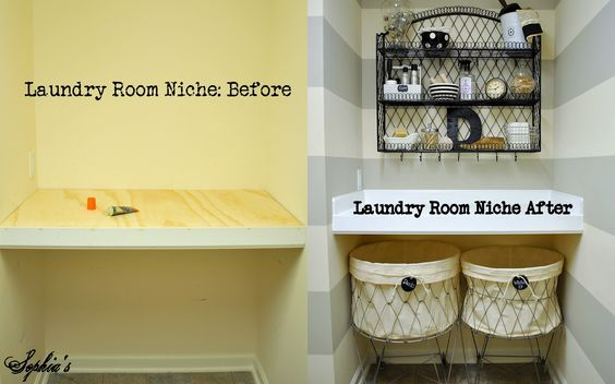Sophia's: Laundry Room Reveal (love the vintage wire baskets)