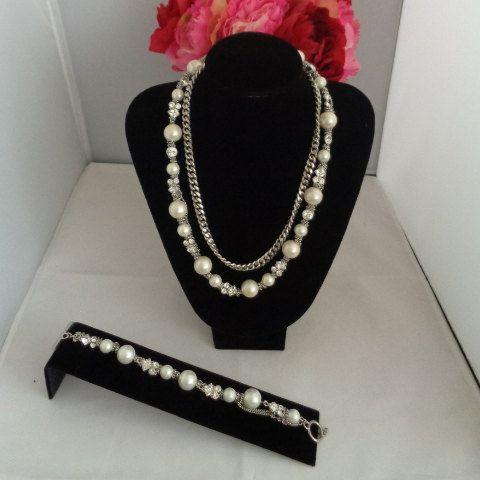 Coupon Code 582016 Givenchy Rhinestones with Large Faux Pearls Multi Strand Necklace and Matching Faux Pearl and Rhinestone Bracelet The set is for sale at $140.00 and is a rare and unique set. You can read about Hubert Givenchy on our blog  www,CCCsVintageJewelryBlog.com