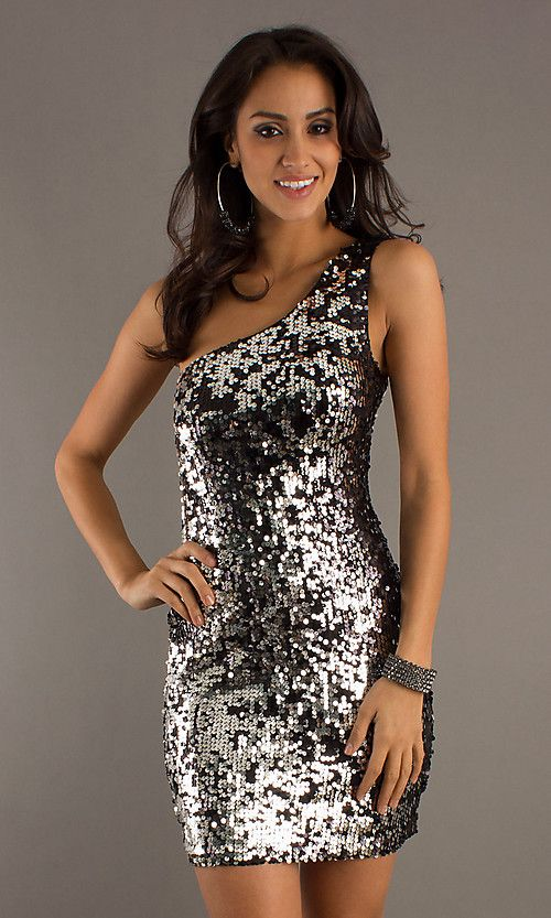 Busty Short Black Dresses - Short One Shoulder Black &amp- Silver ...