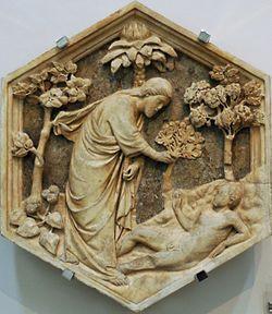 Andrea Pisano : Création d'Adam pour le Campanile. Muséo d'ell'Opera del Duomo (Florence)- Sculpteur et architecte italien (1295- Orvieto? 1348) est, après Arnolio di Cambrio, le plus grand sculpteur toscan. Formé à Pise, il se rend à Florence où il exécute entre 1330 et 1336 la porte du baptistère en bronze doré, ornée de bas-reliefs représentant les Vertus et des épisodes de la vie de St Jean Baptiste. Dans cette œuvre l'artiste témoigne d'un style élégant et raffiné et une force…