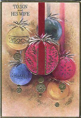 Vintage Ambassador Christmas Card: Ornaments with Velvet Ribbon - Glitter