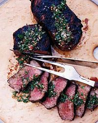Smoky Strip Steaks with Chimichurri Sauce // More Delicious Global Grilling Recipes: http://fandw.me/aGu #foodandwine