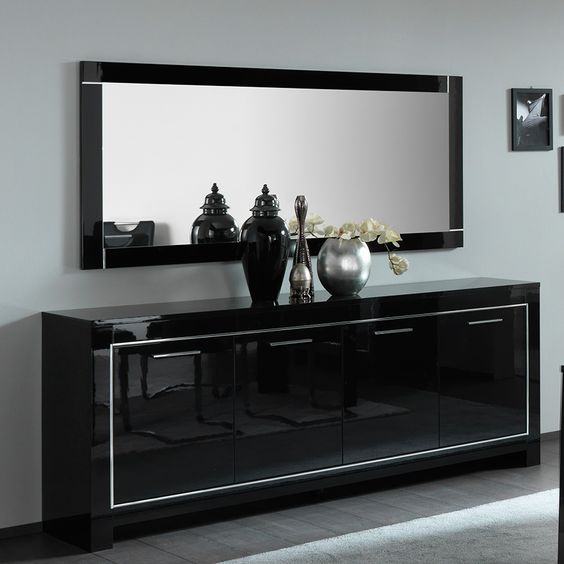Meuble bahut noir laqué design MODA 2