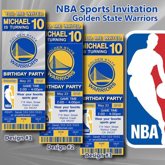 Golden State Warriors NBA Birthday Invitation, Basketball, Ticket Invitation, Sport,Birthday, Digital, Invite Printable 300 dpi JPG, #102