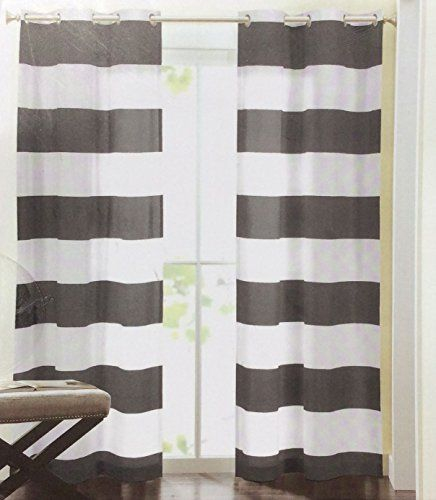 Hillcrest Wide Stripes Curtains 2 Panels 52 by 96 inch Nautical ...