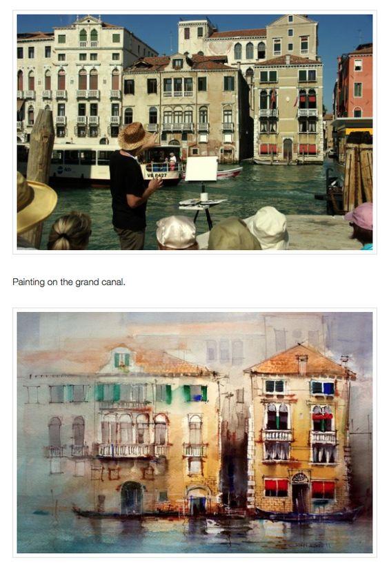 John Lovett - rather abstract watercolour treatment of a Venice mood image