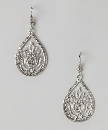 Take a look at this Silver Lotus Drop Earrings by Dream Mullick Collection on #zulily today!