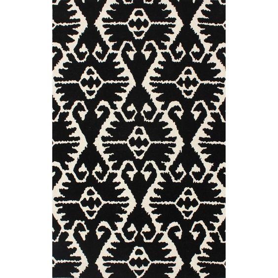 Safavieh Handmade Wyndham Black/ Ivory Wool Rug (8' x 10') | Overstock.com Shopping - The Best Deals on 7x9 - 10x14 Rugs