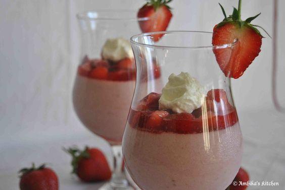 Pretty Strawberry Panna Cotta from @Ambika's Kitchen