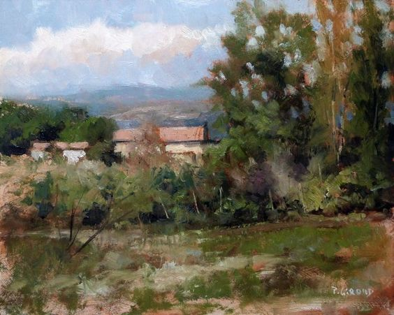 ARTFINDER: Landscape near Sisteron by Pascal Giroud - A lost old country house in a wooded clearing.  Material : - MDF Panel (thickness : 3mm) with 3 layers of gesso. - Oil painting extra-fine Rembrandt - Ret…