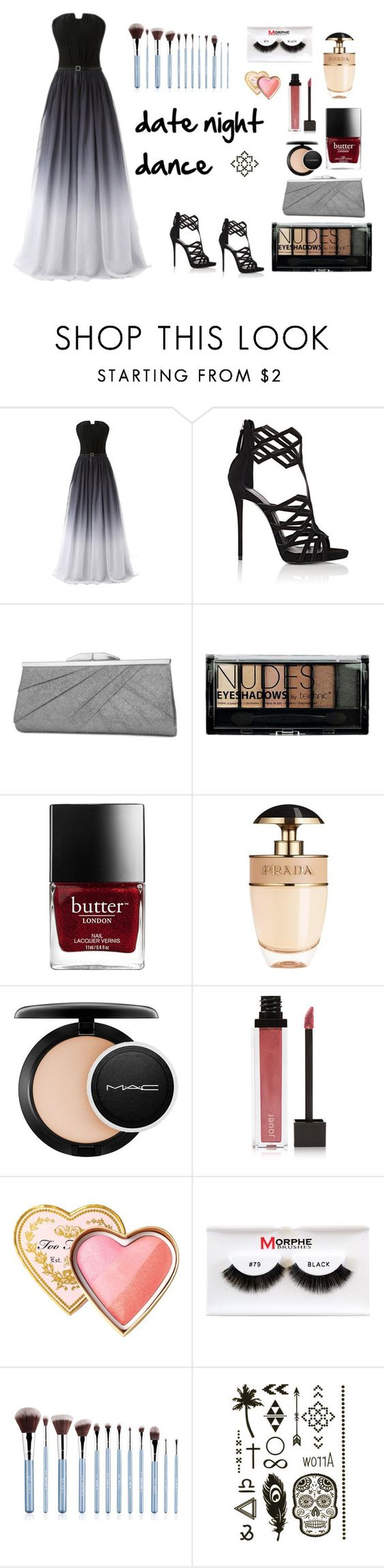 """Untitled #549"" by angelesghendo ❤ liked on Polyvore featuring Giuseppe Zanotti, Jessica McClintock, Boohoo, Prada, MAC Cosmetics, Jouer, Too Faced Cosmetics and Morphe"