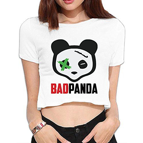 Women's Girls Bad Panda Bare Midriff Crop Top White XL. 100% Cotton Slubbed Fabric. Breathable,Casual,O-Neck. Hand Wash Recommended. Show Your Sexy Figure Make You Charming Cute Women/Girl. 6-15 Business Days Delivery.