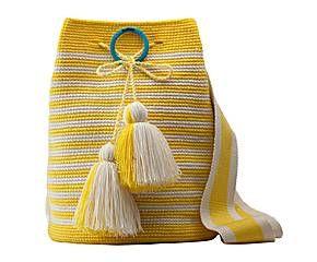 Bolso artesanal en hilo de algodón, marinero – amarillo