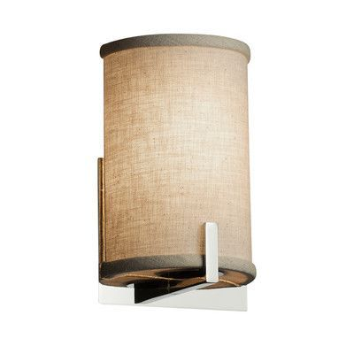 Justice Design Group Textile Century 1 Light Armed Sconce Shade Color: Cream, Finish: Brushed Nickel
