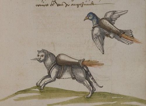 Franz Helm, Buch von den probierten Künsten, Heidelberg, Germany, 1535. Animals with jet packs!?