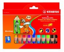 Stabilo Woody Boîte carton de 10 crayons de couleurs + 1 taille crayon Couleurs assorties