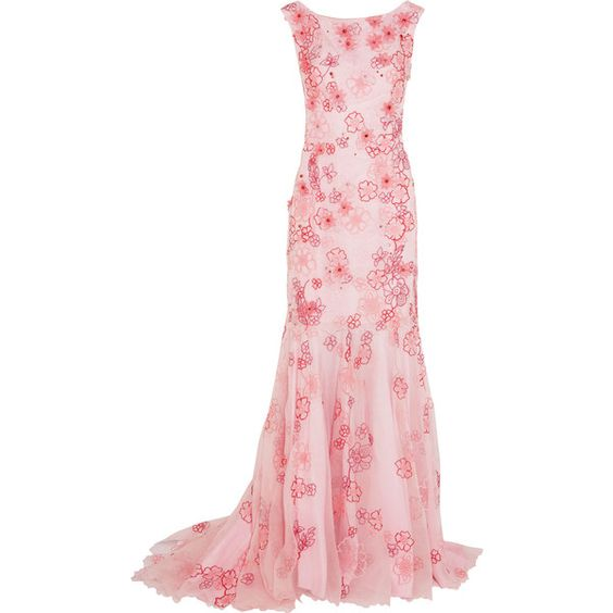Jenny Packham Appliquéd embroidered silk-organza gown ($1,810) ❤ liked on Polyvore featuring dresses, gowns, pastel pink, white evening gowns, floral print evening gown, floral gown, pink dress and white evening dresses