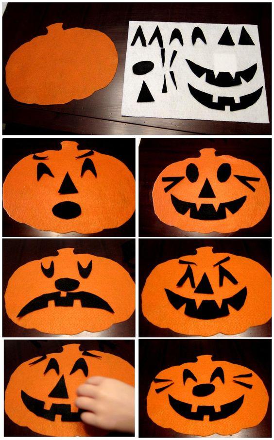 Making different pumpkin faces using felt...Great social-emotional activity!