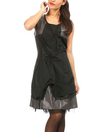 Black & Gray Gathered Sleeveless Dress by L33 by Virginie&Moi #zulily #zulilyfinds