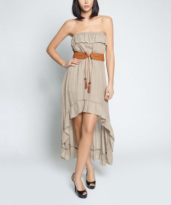 This So Nice Collection Tan Ruffle Belted Pam Hi-Low Strapless Dress by So Nice Collection is perfect! #zulilyfinds