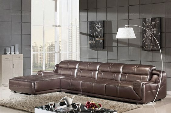 Caesar Palace Modern Style Leather Corner Sofa(1+3+right chaise) - MelodyHome.com