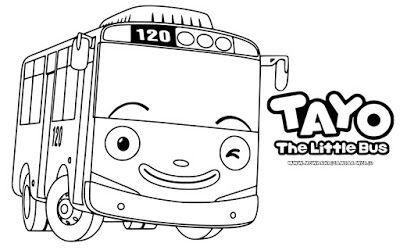 Tayo The Little Bus Dengan Gambar Warna Buku Mewarnai Kartun