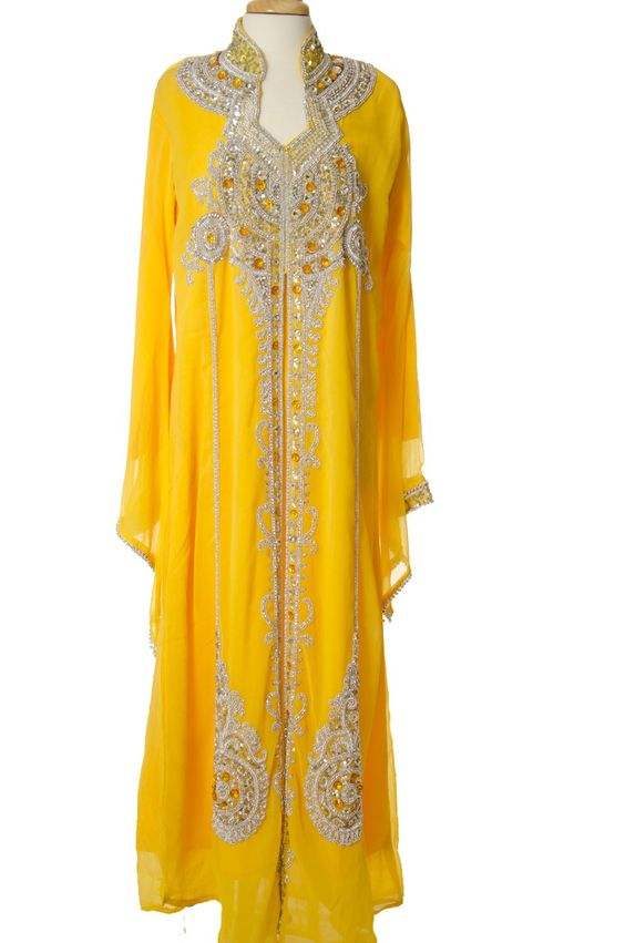I want this to be what I wear around the house JUST BECAUSE <3 Its lovely! Yellow Khaleeji Dress