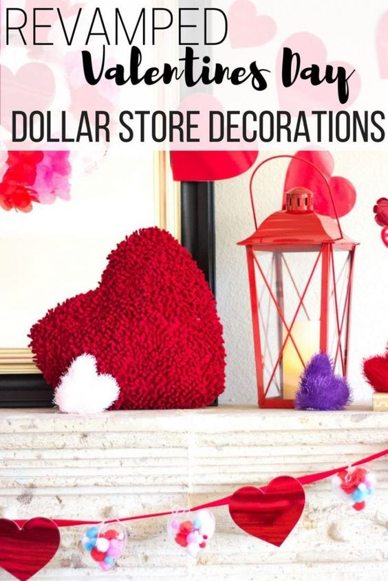Revamped dollar store Valentines decorations. DIY craft idea for your home. Valentines Day crafts